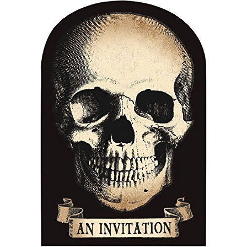 amscan Boneyard Halloween Party Creepy Skull Invitation, Paper, 4