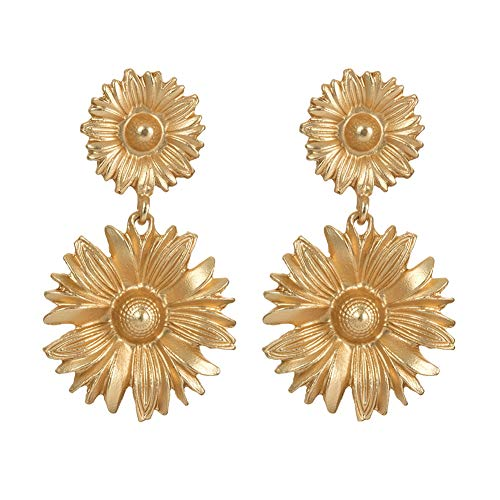 - frigidssm Fashion Sun Flower Shell Faux Starfish Pendant Ear Stud Statement Earrings Women Jewelry Gift Sun Flower