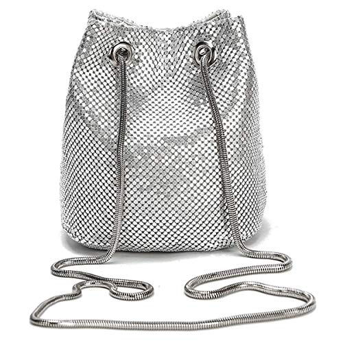 Mesh Wristlet Metal (Silver Party Purse Dakota Mesh Framed Pouch Evening Clutch Vintage Party (Small, Silver Scale Pouch))
