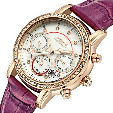 Fashion Watches Women's Fashion Watch Swiss Quartz Genuine Leather Band Red Pink Rose Red Red Peach Purple (Color : Purple) ()