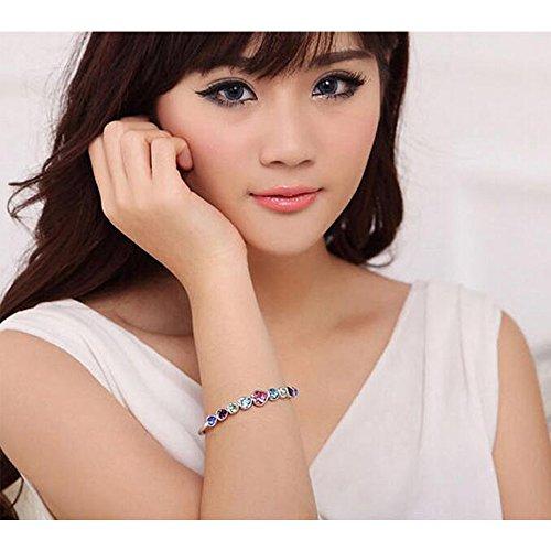 Eastlion Crystal Ladies Bracelet Fashion Heart-shaped Bracelet Creative Hand Jewelry,Blue by Eastlion (Image #4)