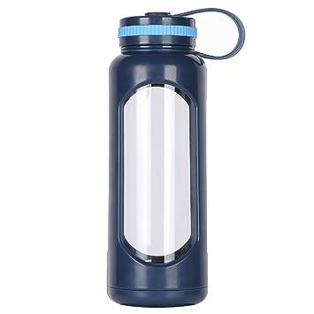 WEITINENA - Botella de agua de cristal de 1 l con tapa a prueba de fugas