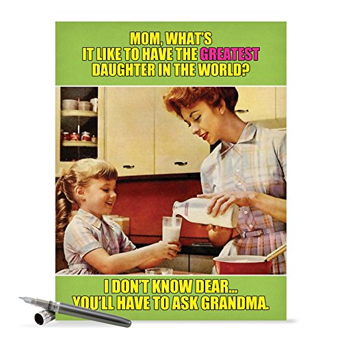 J0222 Jumbo Funny Mother's Day Card: Ask Grandma With Envelope (Extra Large Version: 8.5'' x 11'')