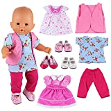 Miunana 8 Items = 5 PCS Clothes Dresses + 3 PCS Shoes For Baby Dolls, Newborn Dolls, Our Generation and Other 14 - 16 Inch Dolls