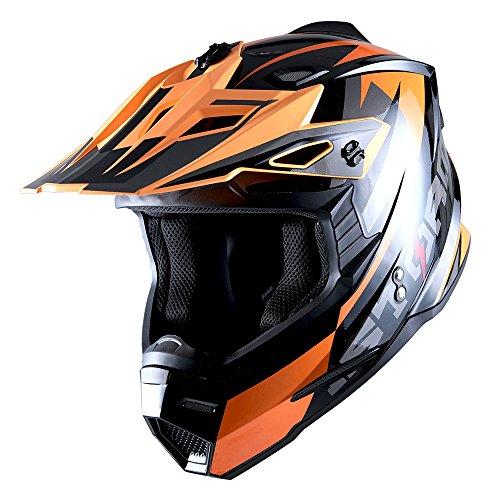 1Storm Adult Motocross Helmet BMX MX ATV Dirt Bike Helmet Racing Style Glossy Orange; + Goggles + Skeleton Orange Glove Bundle by 1Storm (Image #2)