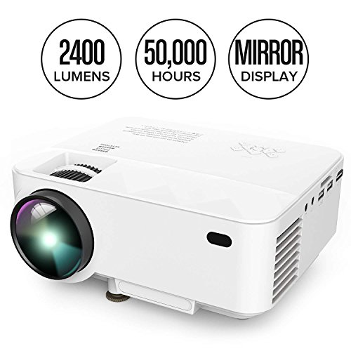Projector, DBPOWER T21 Mini Projector with +10% Lumens Upgrade, Multimedia Home Theater Video Projector Support 1080P, HDMI, USB, SD Card, VGA, AV for Home Cinema, TV, Laptops, Game, Smartphone & (Cinema Video)