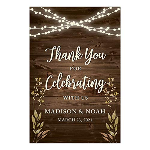 Andaz Press Personalized Extra Large Wedding Easel Party Sign, 12x18-inch, Rustic Wood with Hanging Ball Lights and Florals, Thank You for Celebrating with Us Bride Groom Name Date, 1-Pack, Custom