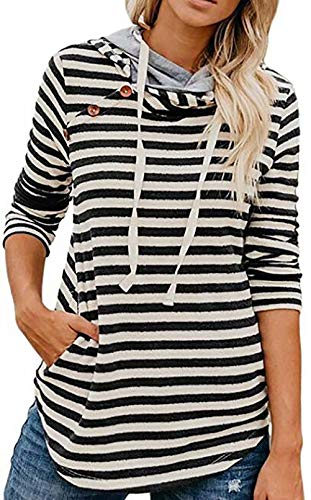 - MNLYBABY Women's Striped Button Long Sleeve Double Hood Sweatshirts Hoodie Casual Pullovers Blouses Tops Size US 2-4/Tag S (Stripe)