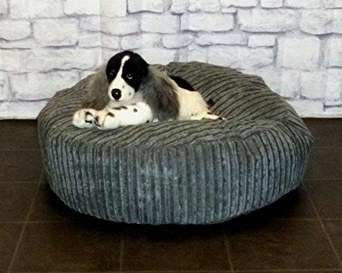 Zippy Round Bean Bag Pet Dog Bed - 30' diameter - Grey Jumbo Cord Fabric - Beanbags