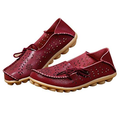 Amaxuan Kvinnor Läder Loafers Mockasiner Vild Körning Tillfälliga Flats Oxfords Andas Skor Bourgogne 2