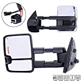 Towing Mirrors For 07-14 Chevy/GMC Silverado/Sierra Truck Pair Set Smoke Power Heated Telescoping with LED Arrow Signal Light Chrome Side Mirrors (Just 07 New Body Style)