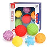 Aminiture 6-11pcs Baby Ball Textured Multi Ball Set Develop Tactile Senses Toy Baby Touch Hand Teether Ball Training Massage Soft Balls (6pcs)
