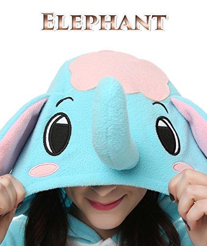 Adult Animal Kigrumi Pajamas, Unisex Onesie Cosplay Costume For Halloween (XL, Blue Elephant)