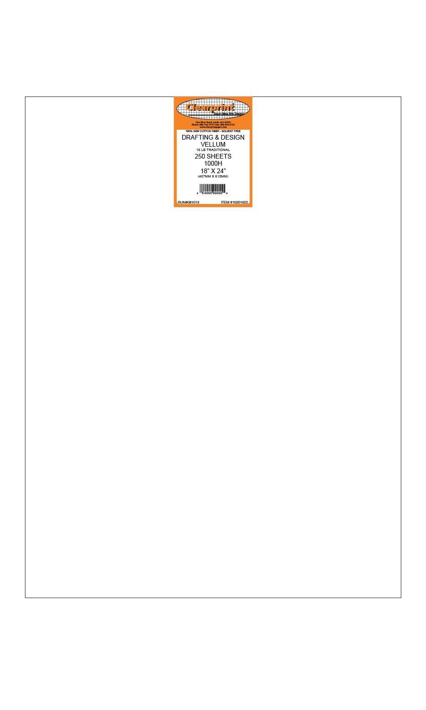 Clearprint 1000H Design Vellum Sheets, 16 Lb., 100% Cotton, 18 x 24 Inches, 250 Sheets Per Pack, 1 Each (10201622)