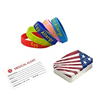 BAIYI Egg Allergy Alert Bracelets for Child Silicone Medical Wristbands 5Pcs