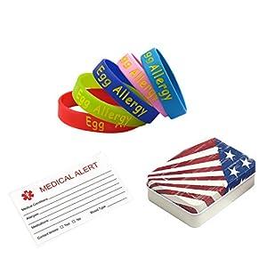 BAIYI Egg Allergy Alert Bracelets for Child Silicone Medical Wristbands 5Pcs