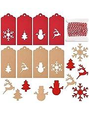 KUUQA Christmas Gift Tags Paper Tags Kraft Gift Tags Snowflake Christmas Trees Reindeer Snowman Design for Christmas DIY Crafts Decorations