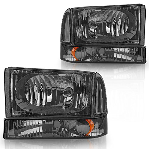 For 01 02 03 04 Ford Excursion F250 F350 Super Duty Headlight Assembly+Park/Signal Lamp,OE Projector Headlamp,Clear housing Smoked Cover (Driver and Passenger ()