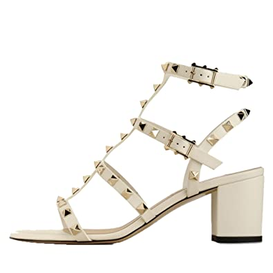 d1b4576f6 Image Unavailable. Image not available for. Color: Comfity Sandals for Women ,Rivets Studded Strappy Block Heels Slingback ...