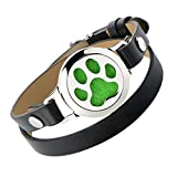 Dog Paw Oil Diffuser Bracelet - Stainless Steel Magnetic Locket Wrap Around Cuff Bangle Colorful Felt Pad Gift Girls Women Teens