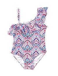 Happy Cherry Girls One Piece Swimsuits Ruffle Off Shoulder Adjustable Beach Swimwear 3-8t