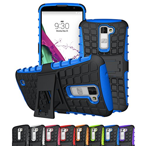 LG K10 Case, LG Premier LTE Case, Viodolge [Shockproof] Hybrid Tough Rugged Dual Layer Protective Case Cover with Kickstand for LG K10 / LG Premier LTE (blue)