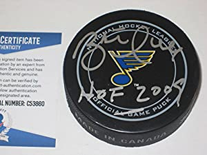 Brett Hull Signed St Louis Blues Official Game Puck with - Beckett Certified & Hof Inscrp