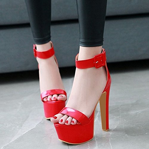 Red Stiletto Sexy Thick And Dressy Large High With Sjjh Platform Sandals BvxdIHqwq
