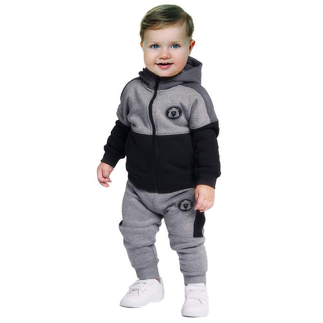 Baby Boy Clothes Funny Letter Printed Tops Leggings Pants Outfits Set for Toddler,Grey and Black (4T)