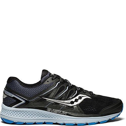 Saucony Men's Omni 16 Running Shoe, black/grey/blue, 10.5 Medium - Mens Saucony Black Shoes