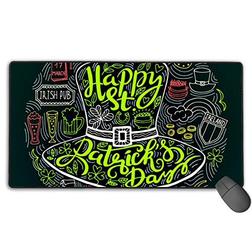 Hidden Ambition St. Patrick's Day Leprechaun Beer Gold Coins Mouse Pad with Stitched Edge, Premium-Textured Mouse Mat, Non-Slip Rubber Base Mousepad for Laptop, Computer & PC ()