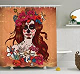Ambesonne Day of The Dead Decor Shower Curtain, Dia de Los Muertos Spanish Mexican Festive Skull Art, Fabric Bathroom Decor Set with Hooks, 84 inches Extra Long, Cinnamon Magenta Maroon