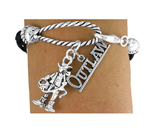 2-charm Black Multi Strand Cowgirl ''Outlaw'' Rope Bracelet by Lonestar Jewelry