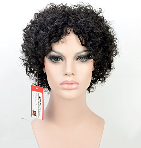 [MyNiceHair--100% Pure Human Hair Short Curly Wigs for Black Women (Natural Black 1B#)] (Curly Wigs For Black Hair)