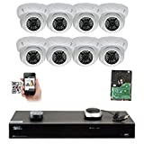 GW Security 8 Channel 4K NVR 5MP IP Camera Network PoE Surveillance System with 8-Piece HD 1920P Weatherproof Outdoor Indoor Dome Cameras – White For Sale