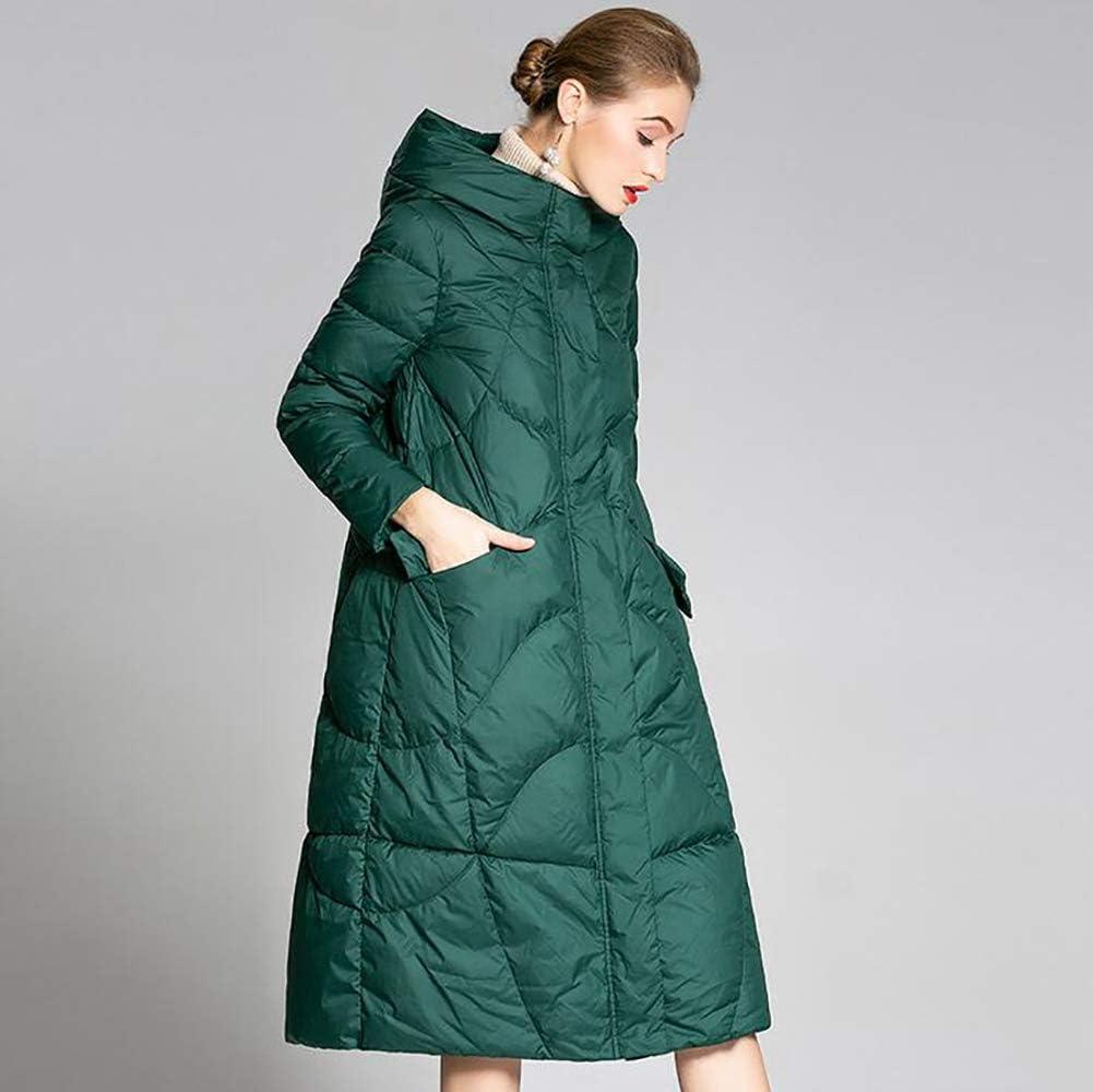SHANGXIAN Donne Giacca Piumino Inverno Addensato Caldo Sciolto Piumino Parka Cappotto con Cappuccio Green