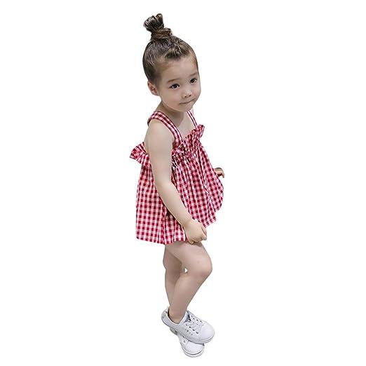 3cfd5f3bbca9 Amazon.com  KONFA Teen Baby Girls Plaid Print Sleeveless Dress ...