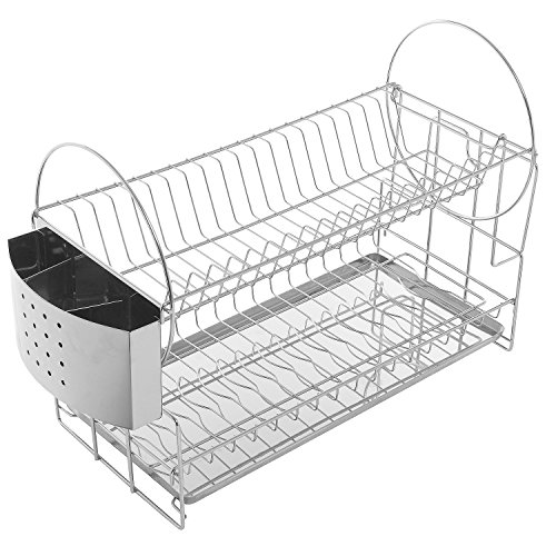 sleek stainless steel 2 tier kitchen countertop dish rack plate cup air drying drainer. Black Bedroom Furniture Sets. Home Design Ideas