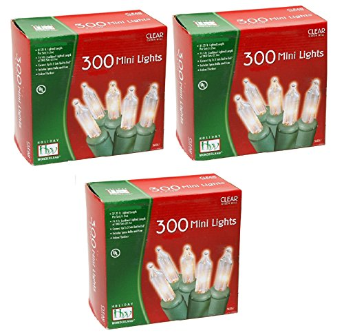 Noma/Inliten Holiday Wonderland 300-Clear Mini Lights, Green Wire (Pack of 3)