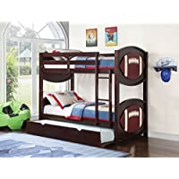 Acme Furniture Over Twin Bunk Bed Set With Trundle All Star Espresso Football Youth Kids