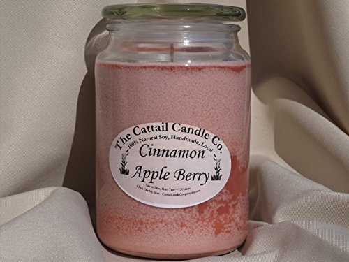 Cattail Candle - Cinnamon Apple Berry - 100% Soy Candle, 24 fl oz
