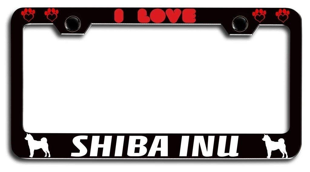 YEX I Love Shiba Inu Dogs Pets License Plate Frame Car Tag Frame Auto License Plate Holder 12' x 6' frame-0801-2160