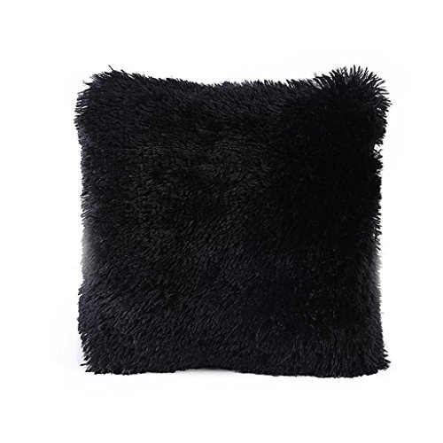 JUNKE Pillow Case Sofa Waist Cushion Cover Home Decor (Black)
