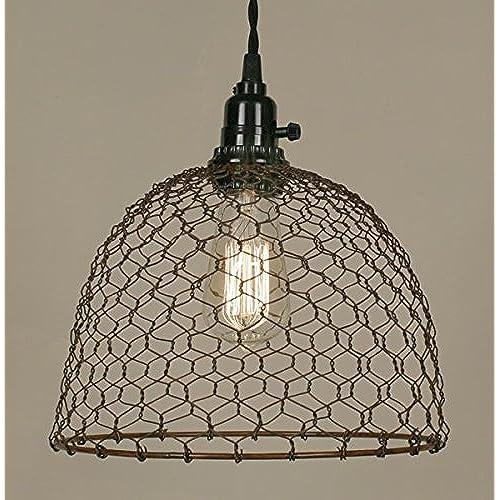 chicken wire dome pendant light in primitive rust finish - Farmhouse Kitchen Lighting