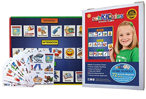 SchKIDules 3 Pc Home Bundle: Daily and Weekly Magnetic Visual Schedule, Kids Calendar and Behavioral Tool for Kids with 14