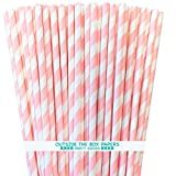 Striped Paper Straws - Light Pink White - 7.75 Inches - Pack of 100- Outside the Box Papers Brand