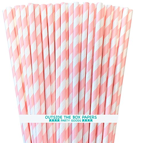 Striped Paper Straws - Light Pink White - 7.75 Inches - Pack of 100