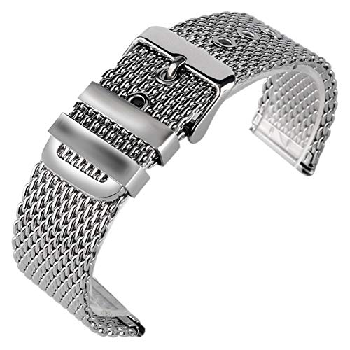 Silver 20/22/24mm Stainless Steel Mesh Watches Band Strap Pin Buckle, Replacement Wrist Bracelet