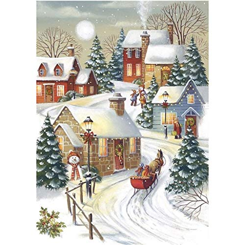 (Autone Christmas Snow Scene DIY 5D Full Diamond Embroidery Painting Cross Stitch Craft Home)
