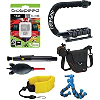 Bundle for Action Camera w/ ActionGrip Professional Action Cam Stabilizing Handle + Floating Strap + Gospeed 16GB Memeory Card + LowePro Case + Flexpod + Deluxe Cleaning Kit